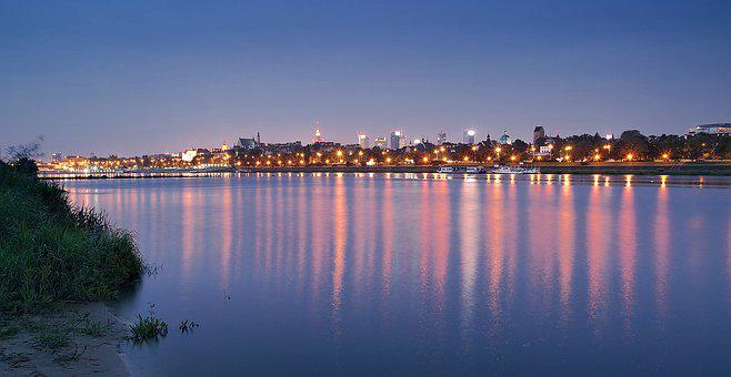 Warsaw, Wisla, Dawn, Night, Water, River, City, Light
