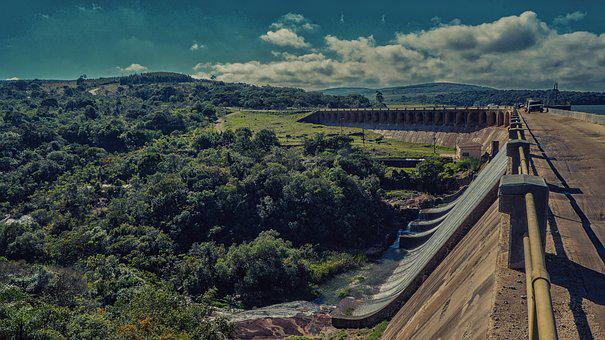 Tree, Mato, Forest, Sky, Clouds, Dam, Rio, Barrier