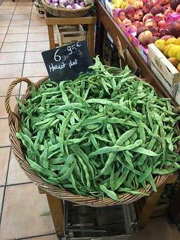 Vegetables, Beans, Spain, Market, Supermarket