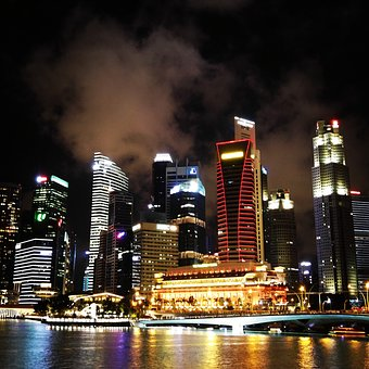 Singapore, City, Night, Skyline, Architecture, Urban