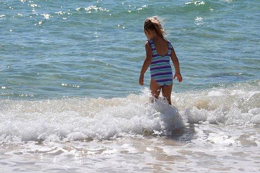 Child In The Surf, Child, Swim, Fun, Sport, Activity