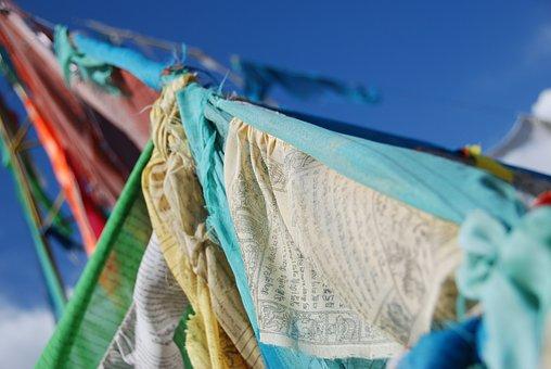 Flags, Buddhism, Prayer, Blue