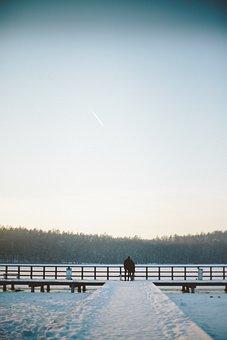 People, Blue, Boy, Bridge, Couple, Girl, Ice, Lake