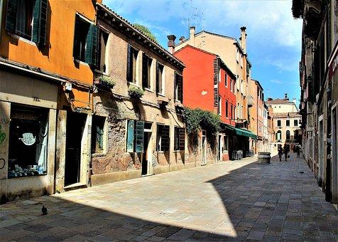 Venice, Alley, Buildings, House, Italy, Facade
