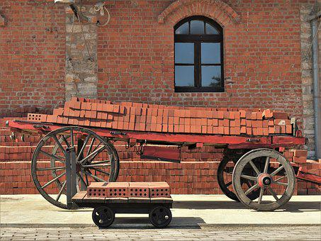 Cart, Old Factory, Industrial, Building, Brick Factory