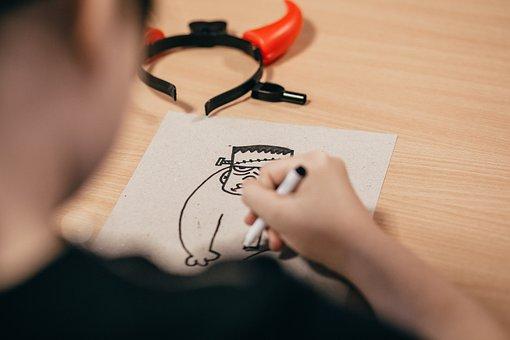 People, Art, Black, Cartoon, Child, Children, Desk