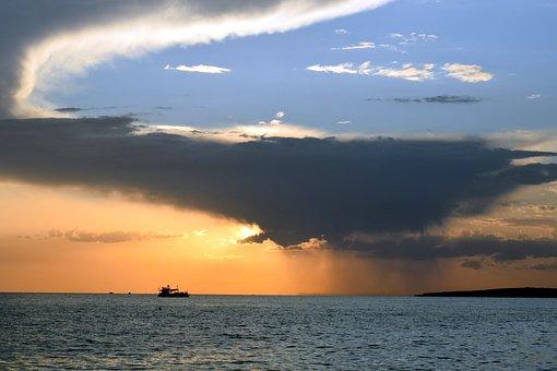 Sunset, Sea, Sky, Clouds, Storm, Nature, Horizon