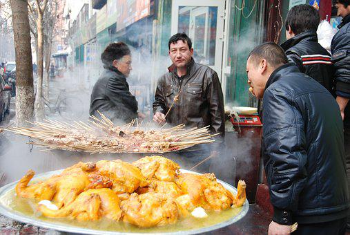 Food, Chicken, Street, Men, Kabob, Eat, China