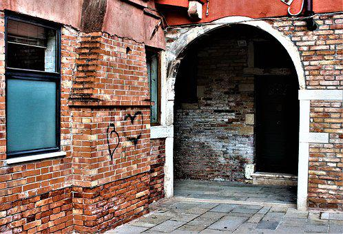 Venice, Heart, Love, Alley, Port, Window, Facade