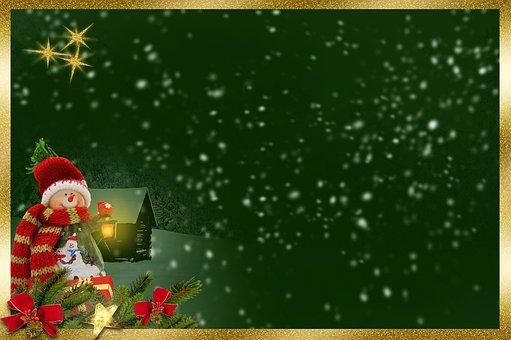 Snow Man, Frame, Background Image, Lantern, Light