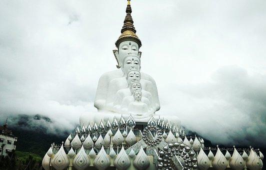 Buddha, Khao Kho, Thailand, Fog, Sky, พระ