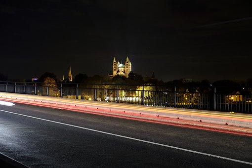 Speyer, Dom, Night, Bridge, Lighting, Landmark