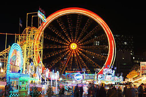 Ferris Wheel, Long Exposure, Dom, Lights