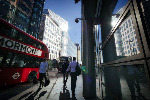 London, Downtown, City, Building, Road, Bus, Mirroring
