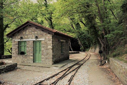 Greece, Magnesia, Milies, Railway Station, Rails