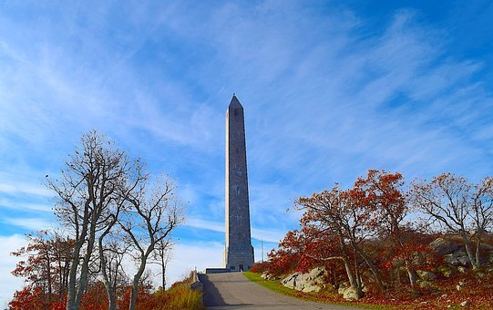 Park, Trees, Nature, Monument, Foliage, Red, Autumn
