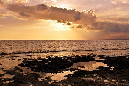 Sunset, Sea, Sky, Clouds, Waves, Horizon, Nature