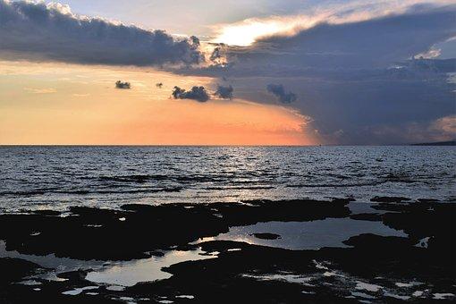 Sunset, Beach, Sea, Sky, Clouds, Horizon, Nature