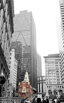 Boston, Old State House, Black And White, Skyscraper