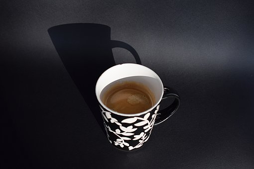 Coffee, Cup, Morning, Shadow, Black, White