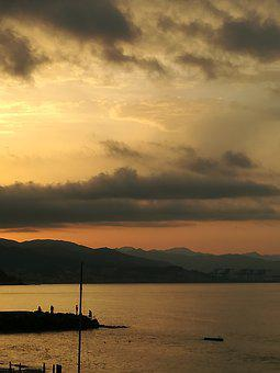 Dawn, Fishermen, Sea, Tranquility, Sky, Backlight