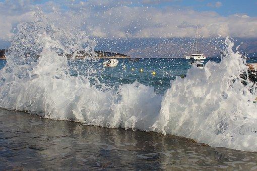 Sea, Wave, Surf, Spray, Sky, Sun, Clouds