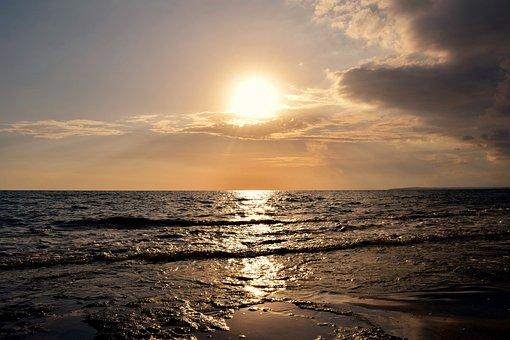 Sunset, Sun, Sea, Sky, Clouds, Waves, Horizon, Nature
