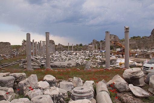 Ruins, Turkey, Poppies, Archeology, Past, Antiquity