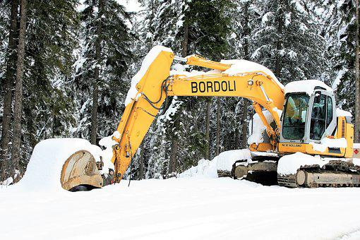 Winter Dream, Snow, Mountains, The Alps, Excavator