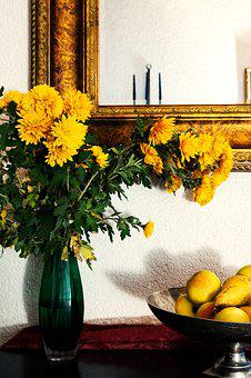 Flowers, Asters, Herbstastern, Yellow, Vase