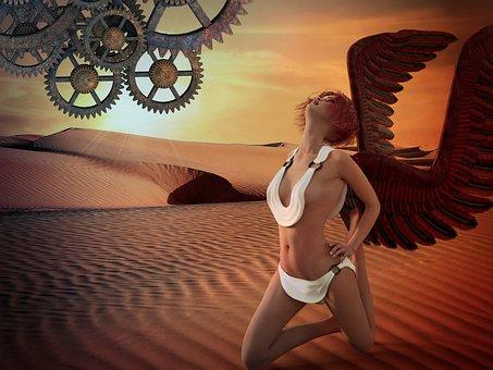 Fantasy, Angel, Wings, Creative, Woman, Surreal