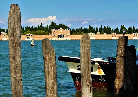 Venice, Boat, Water, Cemetery, Island, Anchorage, Sea