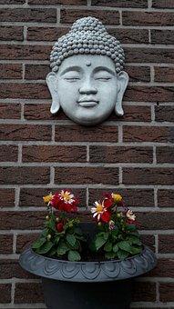 Buddha, Religion, Face, Flowers