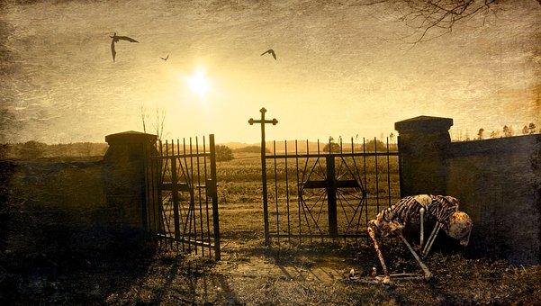 Fantasy, Cemetery, Skeleton, Input, Cross, Light