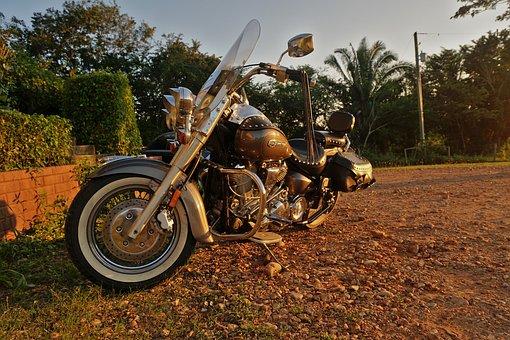 Motorcycle, Yamaha, Engine, Chrome, Tire, Mirrors