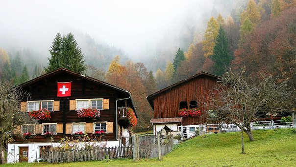 Hut, Wooden, Alpine Village, Autumn, Flag