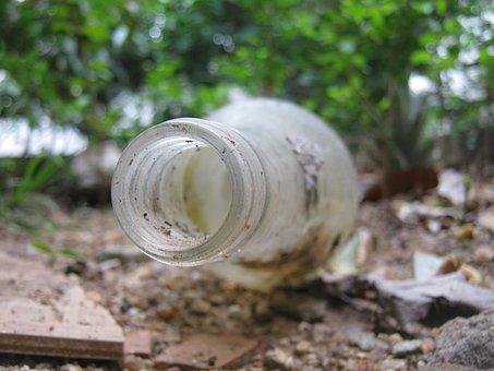 Bottle, Macro, Ground, Drink