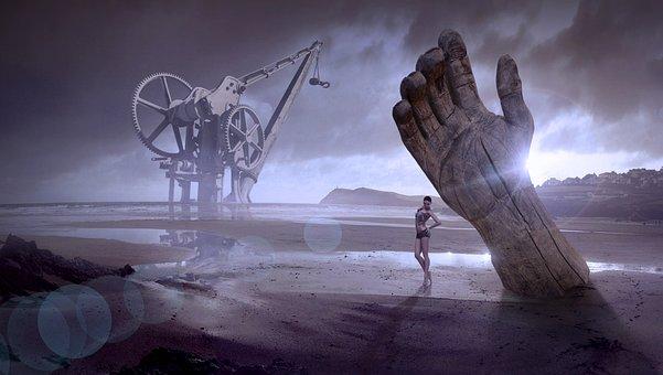 Fantasy, Beach, Woman, Machine, Hand, Wood, Water