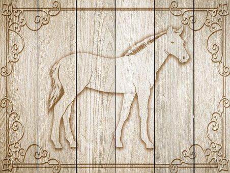 Horse, On Wood, Frame, Background, Wood, Decoration