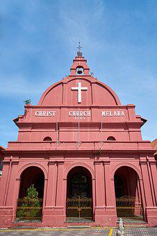 Church, Malaysia, Red, Jesus, Cross, Perspective, Sky