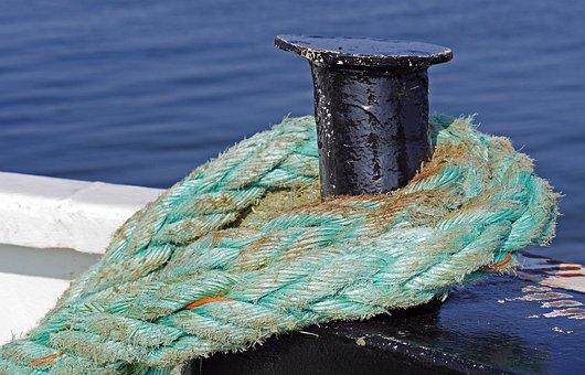 Bollard, Ship Traffic Jams, Fixing, Nylon Rope, Dew