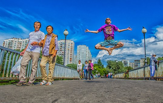 Levitation, Summer, Bridge, People, Jump