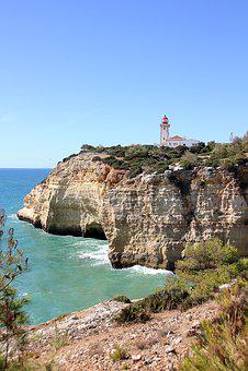 Portugal, Algarve, Coast, Rock, Nature, Sky, Wave