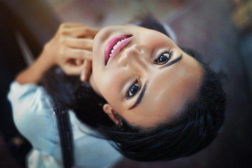 Face, Close-up, Eyes, Lips, Smile, Hair, Pose, Girl