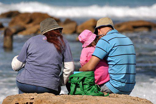 Family, Sea, Beach, Happiness, Together