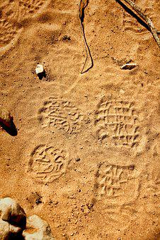 Trace, Reprint, Track, Traces, Sand, Footprint, Nature