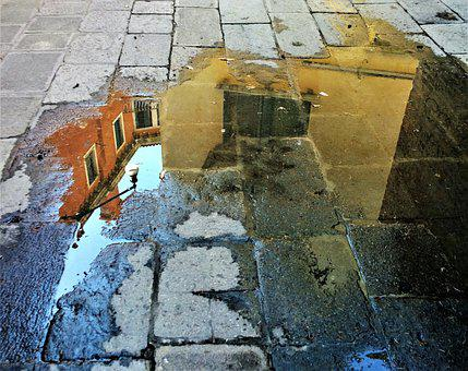 Venice, Mirror Image, Water, Architecture, Buildings