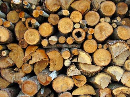 Firewood, Pile, Wood, Village, Sawn, Tree Bark, Logs