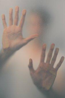 Stuck, Imprisoned, Hands, By, Window, Blur, Shadow