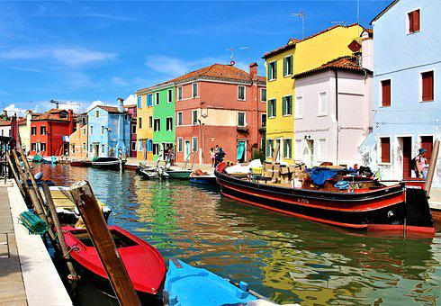 Venice, Burano, Channel, Buildings, Picturesquely